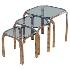 Chrome and Smoked Glass Nesting Tables in the Style of Marcel Breuer