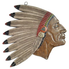 Antique Folk Art Carved Native American Chief Head Advertising Sign