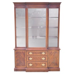 Hickory Chippendale Banded Inlay China Cabinet American Masterpiece Collection