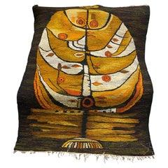 Large Mid-Century Modern European Polish Cepelia Tapestry Wall Hanging Rug