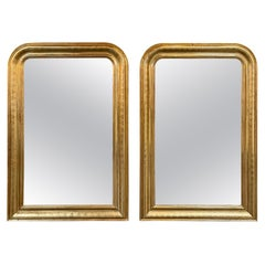 Pair of Gold Louis Philippe Mirrors with Zig Zag Pattern
