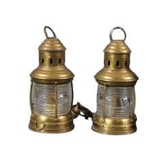 Pair of Brass Perko Ships Anchor Lanterns