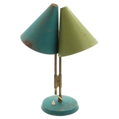 1959 Bent Karlby 'Mosaik' Adjustable Brass & Lacquered Metal Table Lamp for Lyfa