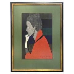 Kiyoshi Saito Signed Japanese Print Shop Girl Cardin Paris 'Green Ring' 1960