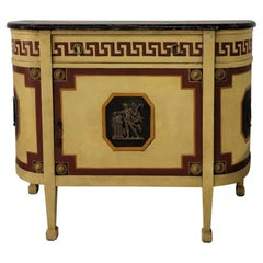 Early 20th-C. Italian Neo-Classical Style Faux Marble Painted Demilune Cabinet