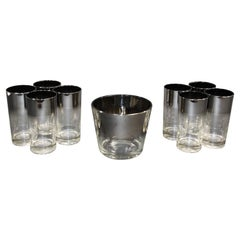 Dorothy Thorpe Mid-Century Silver Fade Cocktail Barware Glasses and Ice Bucket