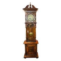 Grandfather Clock Wilhelminian Style Walnut Open 2 Weights 1880 Gustaf Becker
