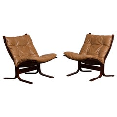 1970s Pair Camel Leather 'Siësta' Lounge Chairs by Ingmar Relling for Westnofa