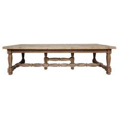 Large Stripped Oak Monastery Table