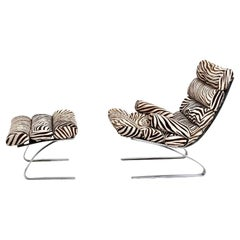 Early Sinus Zebra Leather Lounge Chair by Adolf & Schröpfer for COR, Germany