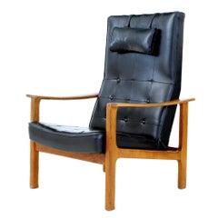 Mid 20th Century Scandinavian Modern Teak Reclining Leather Armchair
