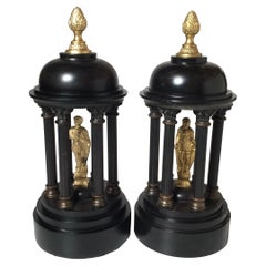 Pair of Gilt Bronze and Belgian Slate Temple Garnitures, 19th Century