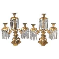Pair of French Gilt Bronze Lusters Candelabra, 19th Century
