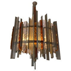 Chandelier Wrought Iron Hammered Glass by Biancardi & Jordan Arte, Italy, 1970s
