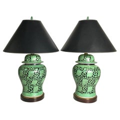Pair of Chinese Green and Black Porcelain Ginger Jar Lamps