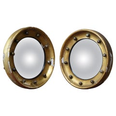 Matching Pair of Early 19th C English Country House Giltwood Convex Mirrors
