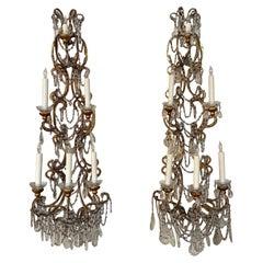 Pair of Vintage Italian Beaded Crystal 6 Light Wall Sconces