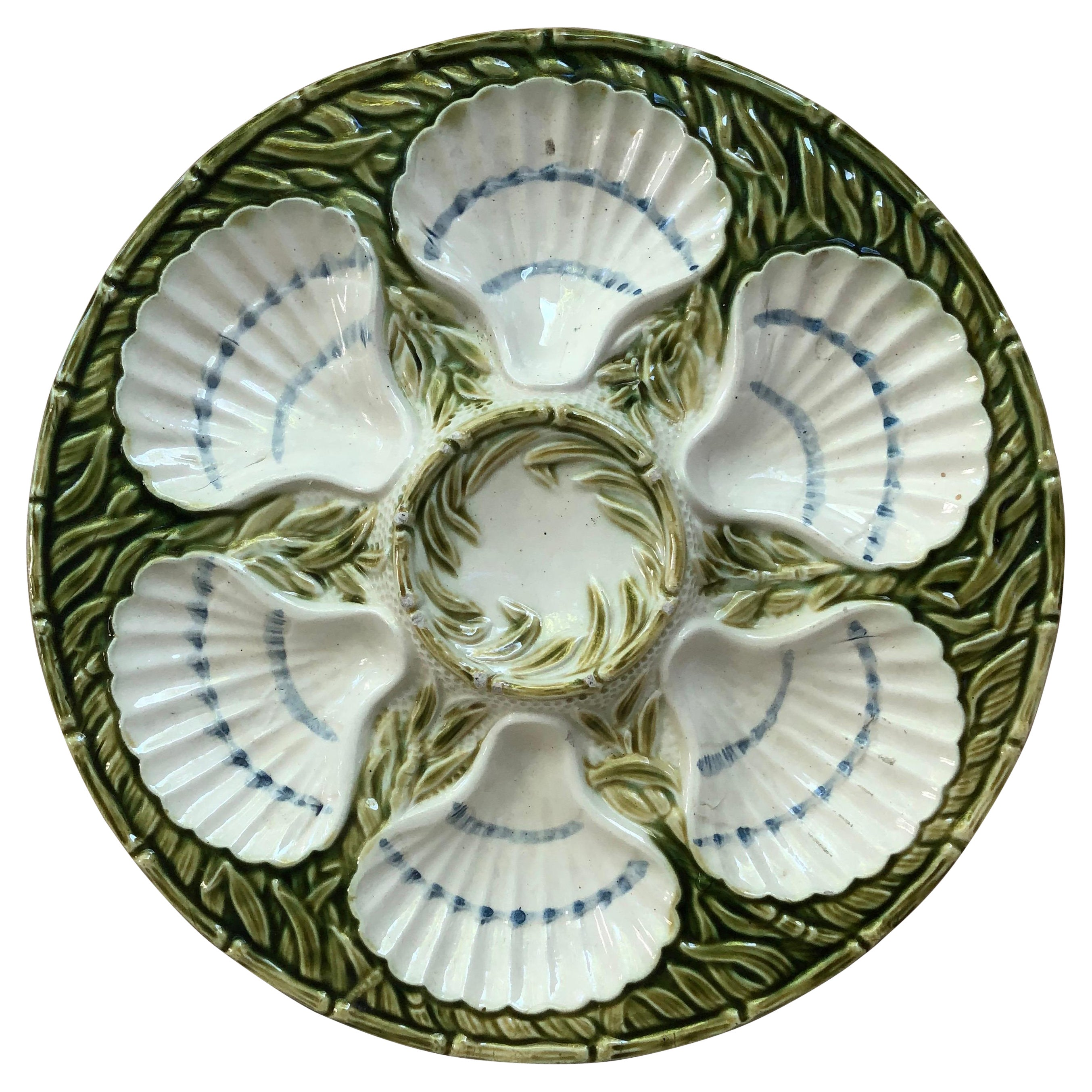 19th Century Majolica Oyster Plate Salins