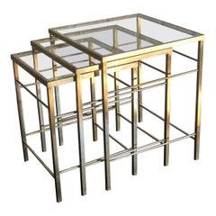 Mid-Century Modern Nest of 3 Brass & Glass Tables, Italian, 1970s