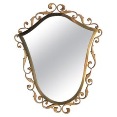 Italian Antique Bronze Wall Mirror Signed by Moderna, 1940s,