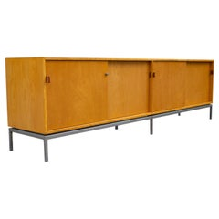 Florence Knoll Maple Credenza with Leather Pulls and Oak Drawers Early 1950s