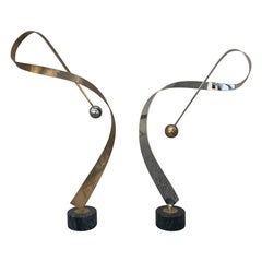 Mirrored Pair of C. Jere Ribbon Sculptures in Brass and Chrome
