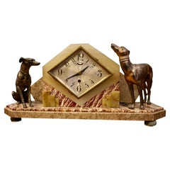 Rare French Art Deco Marble & Onyx Mantel Clock with Bronze Dog Figurines