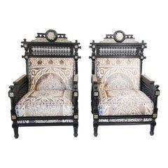 Pair of Antique Middle Eastern Moorish Black Armchairs