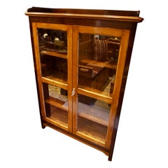 Art Deco Two Tone Solid Teak & Rosewood Showcase Cum Bookcase Cabinet