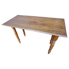 Handcrafted Colonial Teak Campaign Table with Folding Legs
