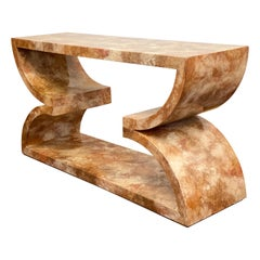 1980s Alessandro for Baker Faux Lacquered Marble Sculptural Console Table