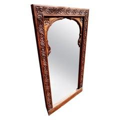 19th Century Carved Arch Teak Indian Window Frame Mirror