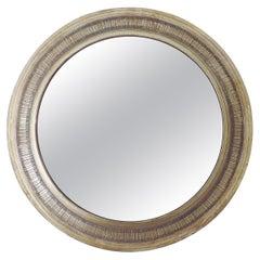 Gallinaro Sculptural Nickel Wall Mirror, Italy, 1950s