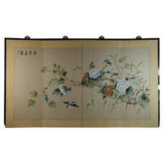 Four Panel Asian Screen Birds and Flowers