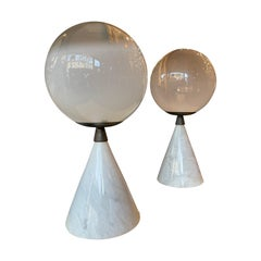 Pair of Large Murano Glass and Italian Marble Table Lamps