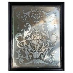 Exceptional Late 19th Century Etched & Bevelled Victorian Pub Mirror