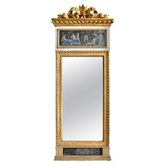 Gustavian 18th Century Giltwood Mirror with Gouaches