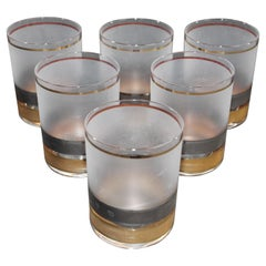 Vintage Culver Set of Six Rock Glasses Frosted with Gold and Black