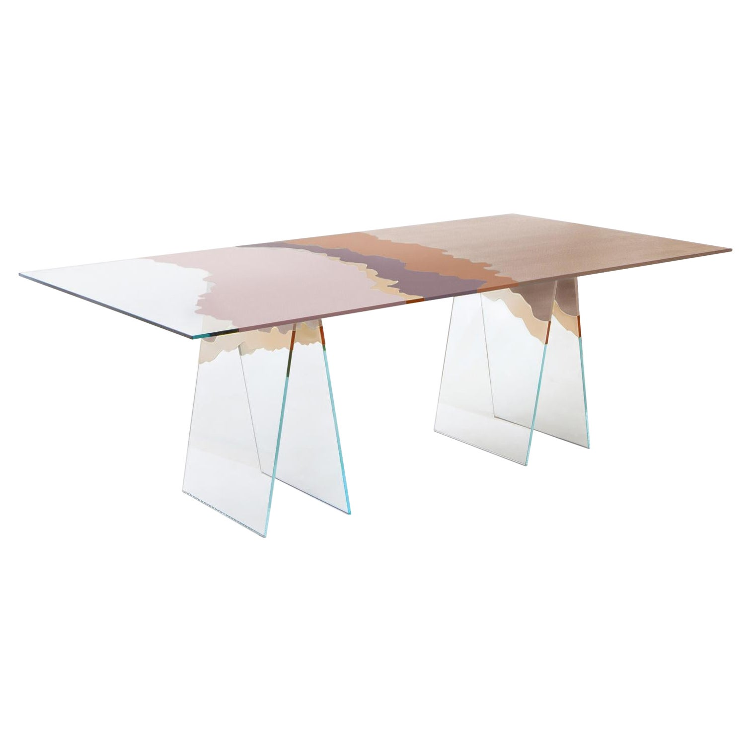 21st Century Table de Milàn Table in Ultra-White Glass and Dawn Color Laminate