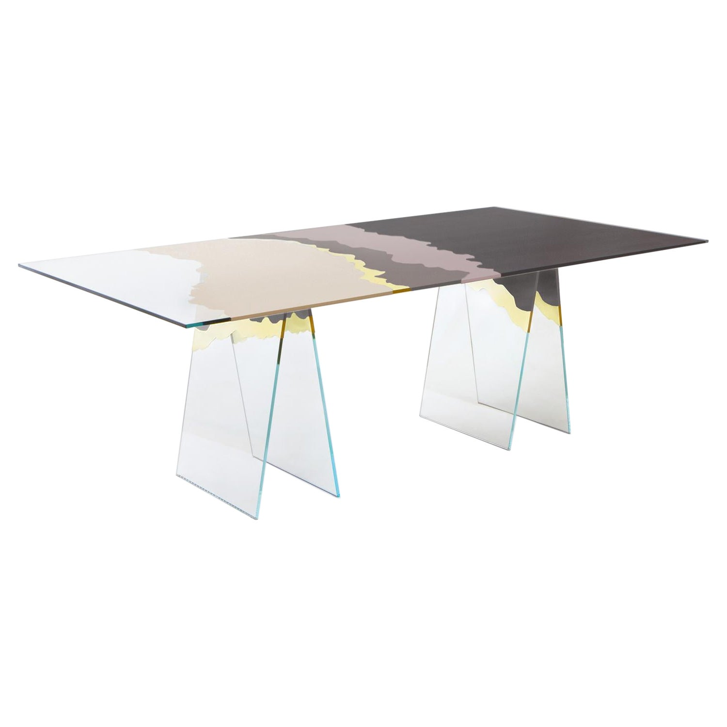 21st Century Table de Milàn Table in Ultra-White Glass and Sand Color Laminates