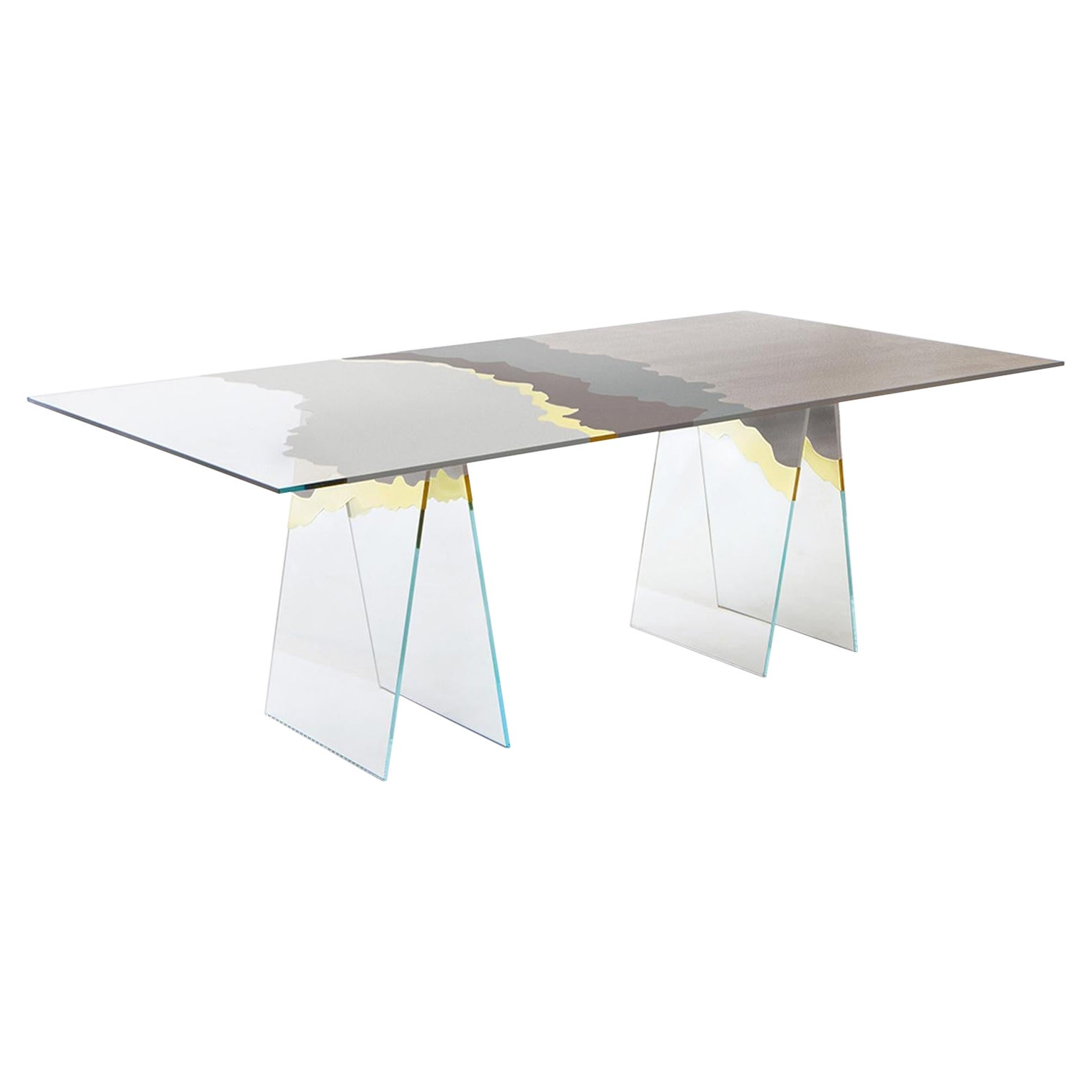 21st Century Table de Milàn Table in Ultra-White Glass and Grey Laminates