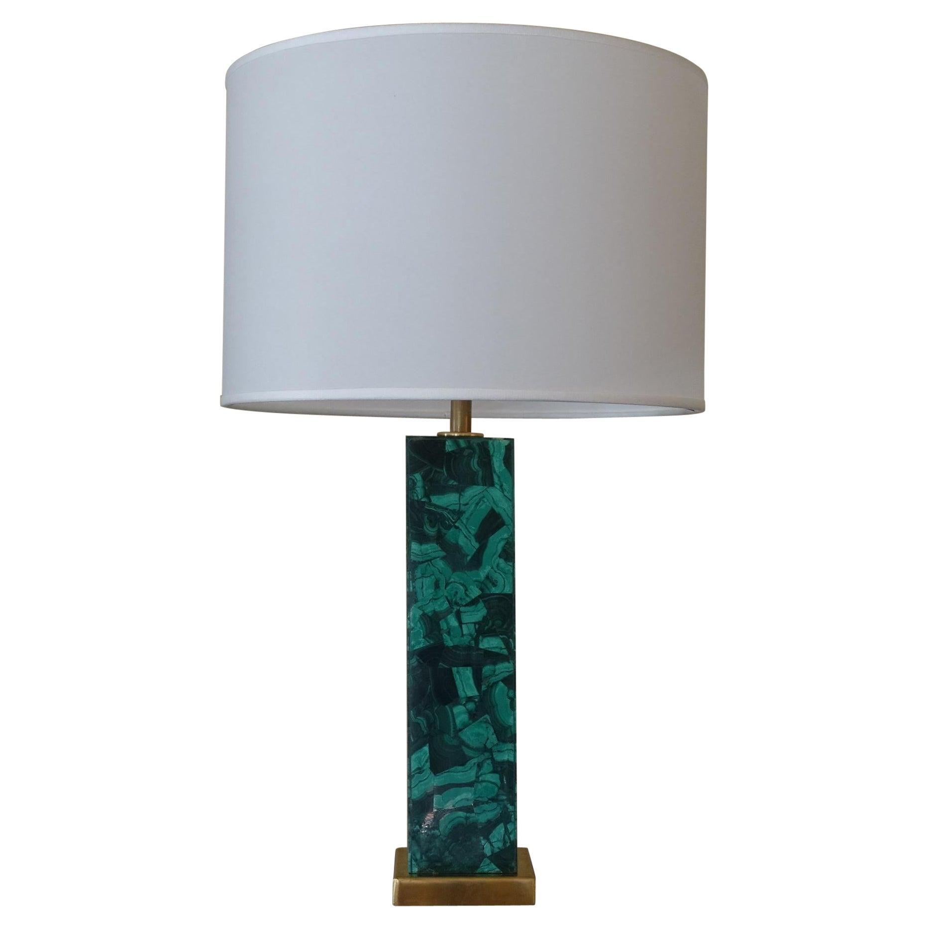 Malachite Decorative Table Lamp, Brass Details