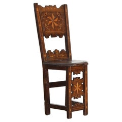 Italian Baroque Walnut and Inlaid Convent Chair, Mid 17th Century