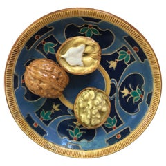 Majolica Palissy Walnuts Platter Auguste De Chauvigne circa 1879