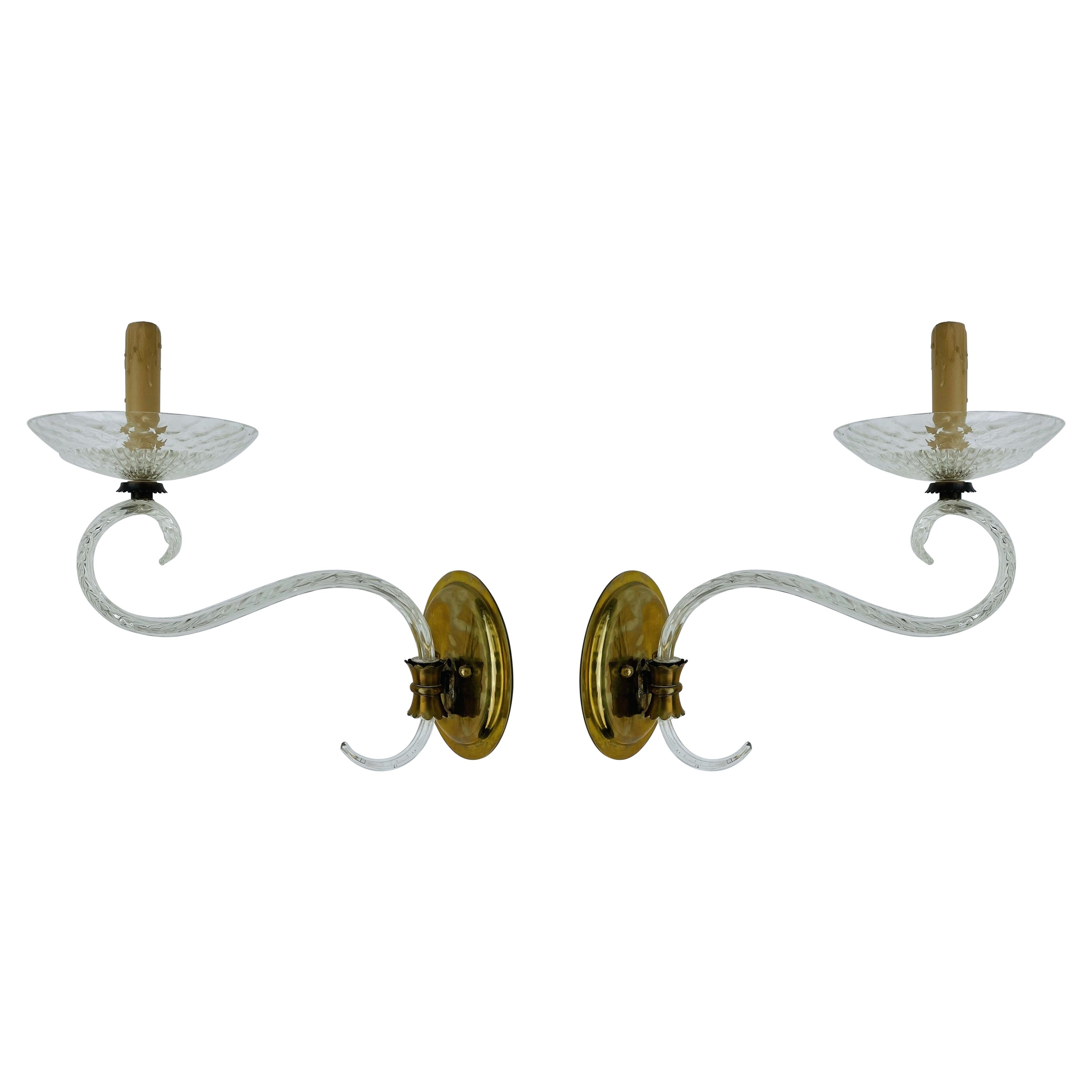Pair of Murano Glass & Brass Wall Sconces