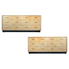 Pair of Burled Olive and Oak Chests by Henredon