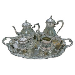 20th Century Italian Solid 800 Silver Tea-Coffeeset with Tray