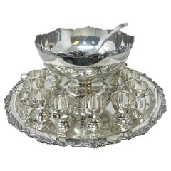 Estate Silver-Plated Punch Bowl Service with 12 Cups, Tray, & Ladle, circa 1950s