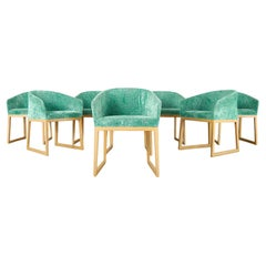 Set of Eight Roche Bobois Barrel Back Dining Chairs