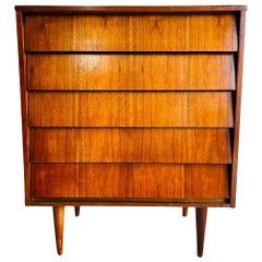 Mid-Century Modern Walnut Tall Highboy Dresser by Ward Furniture Co.